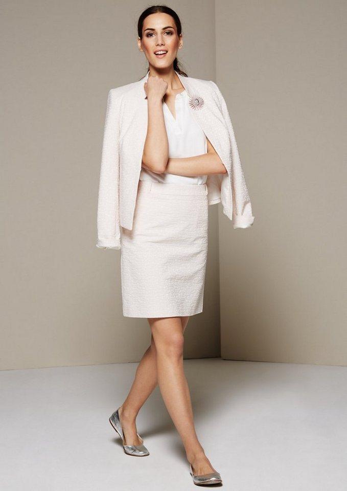 COMMA Edler Businessrock mit elegantem Jacquardmuster in wool white