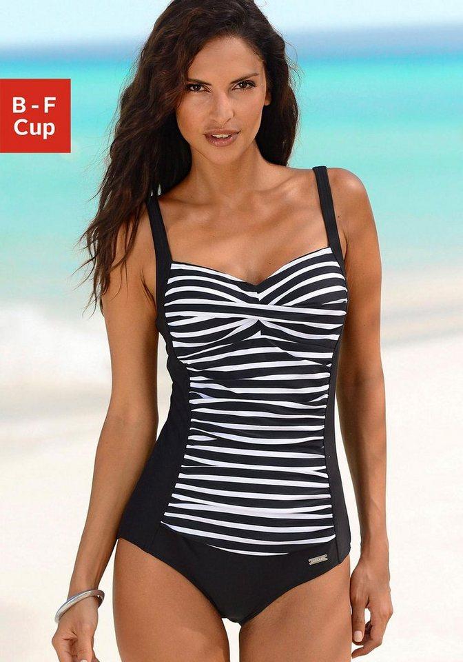 Bademode - LASCANA Badeanzug, mit Streifendruck › schwarz  - Onlineshop OTTO