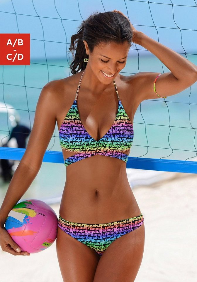 Triangel-Bikini, Bench in bunt bedruckt