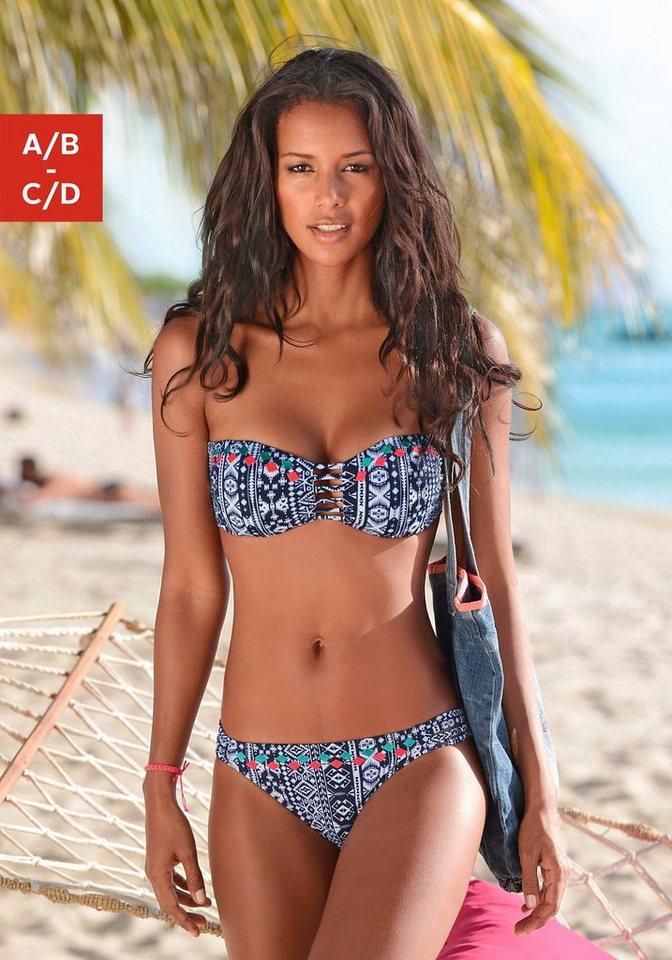Bandeau-Bikini, Venice Beach in marine bedruckt