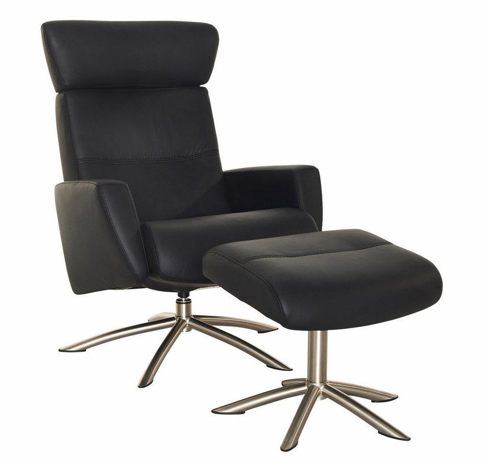 Set: Relaxsessel mit Hocker »Space 52.42«, mit integrierter stufenloser Kopfpolsterverstellung in schwarz