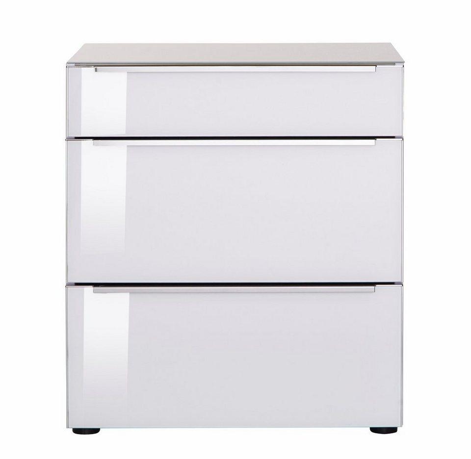 nolte® Möbel Nachtkommode »Alegro Style«, Glasfronten in polarweiß/weißglas