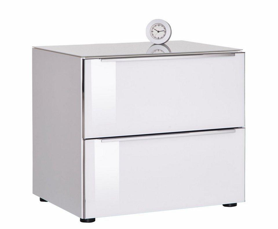 nolte® Möbel Nachtkommode »Alegro Style«, Glasfronten in weißglas/polarweiß