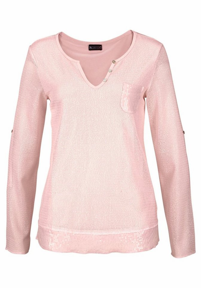 Laura Scott Langarmshirt mit Pailletten an Saum und Brusttasche in rosa