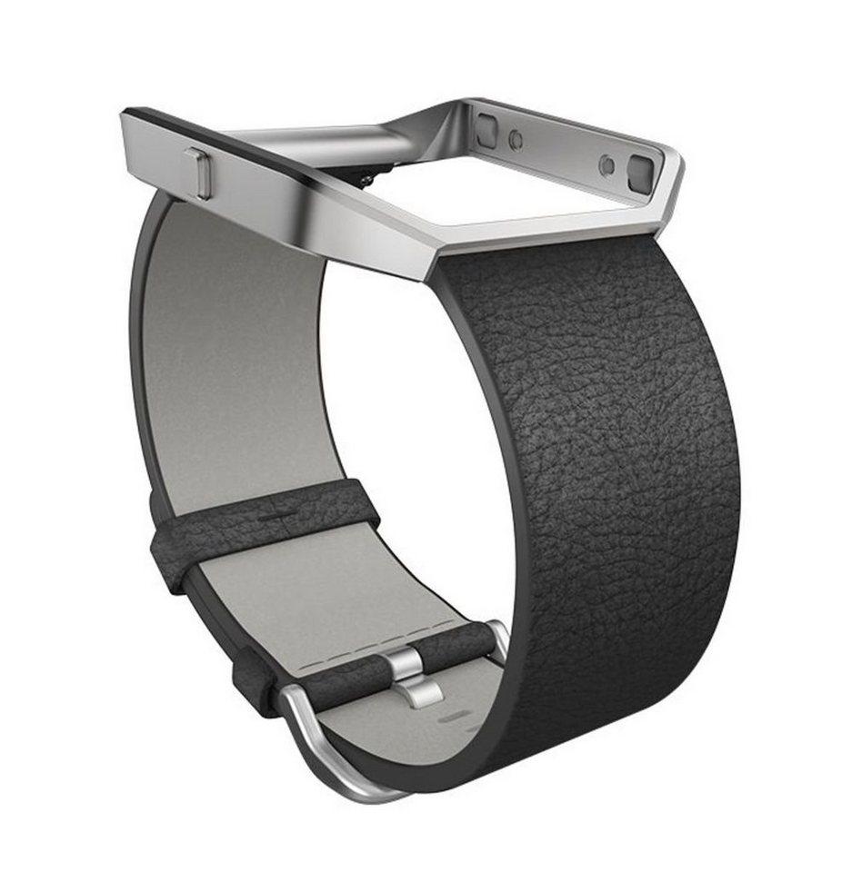 fitbit Ersatz-/Wechselarmband »Leder Armband für BLAZE in Größe L« in Schwarz
