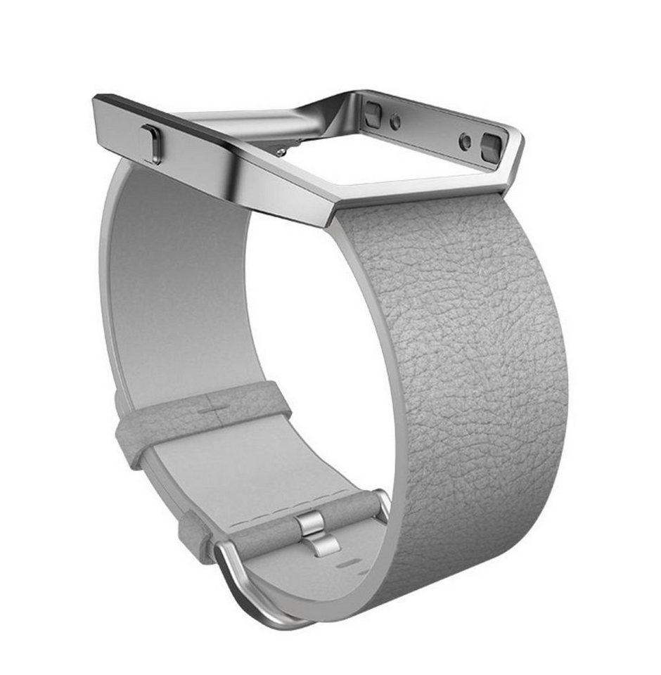 fitbit Ersatz-/Wechselarmband »Leder Armband für BLAZE in Größe S« in Hellgrau