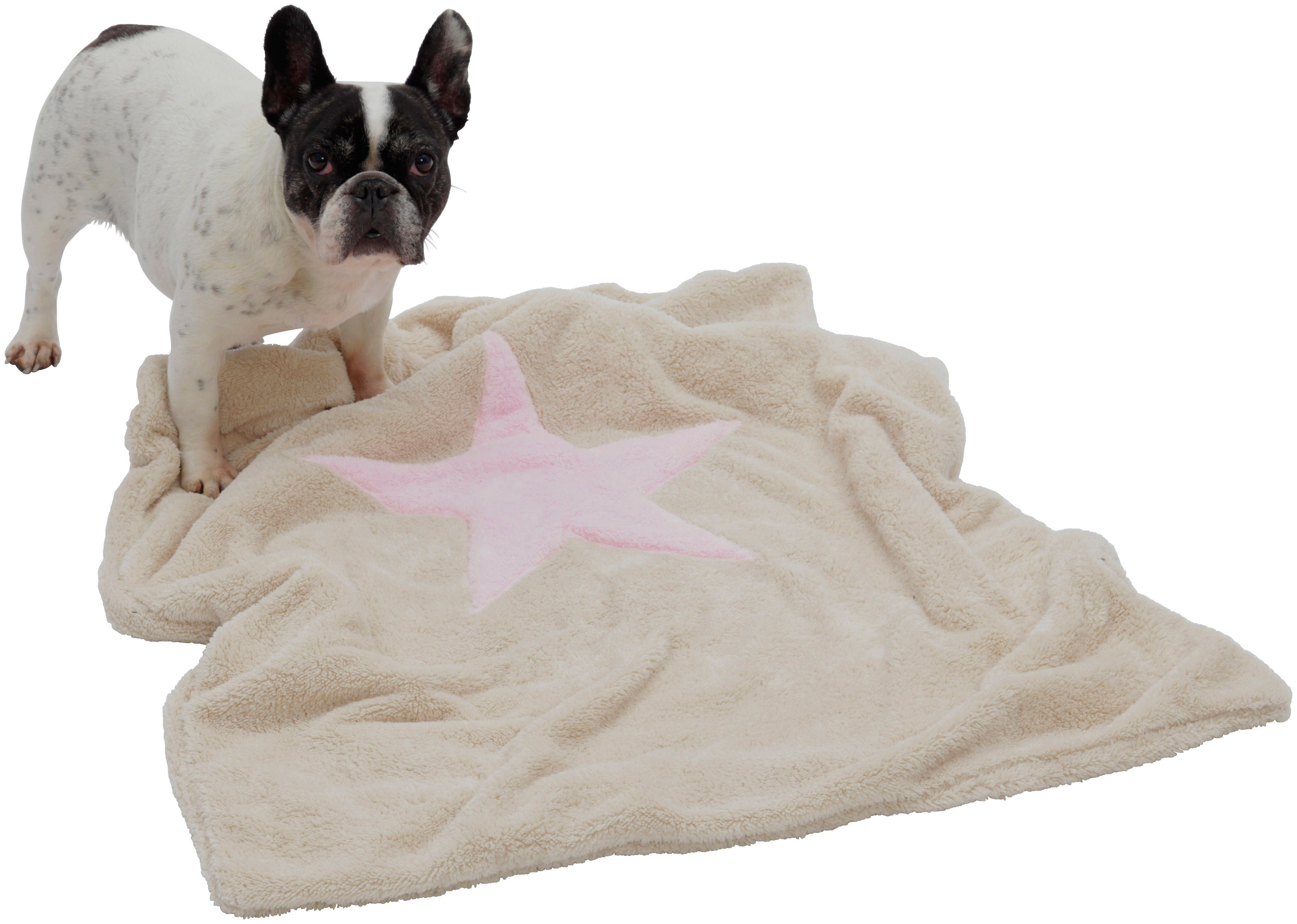 Hundedecke und Katzendecke »Pooch«, LxB: 67x87 cm, Creme-rosa