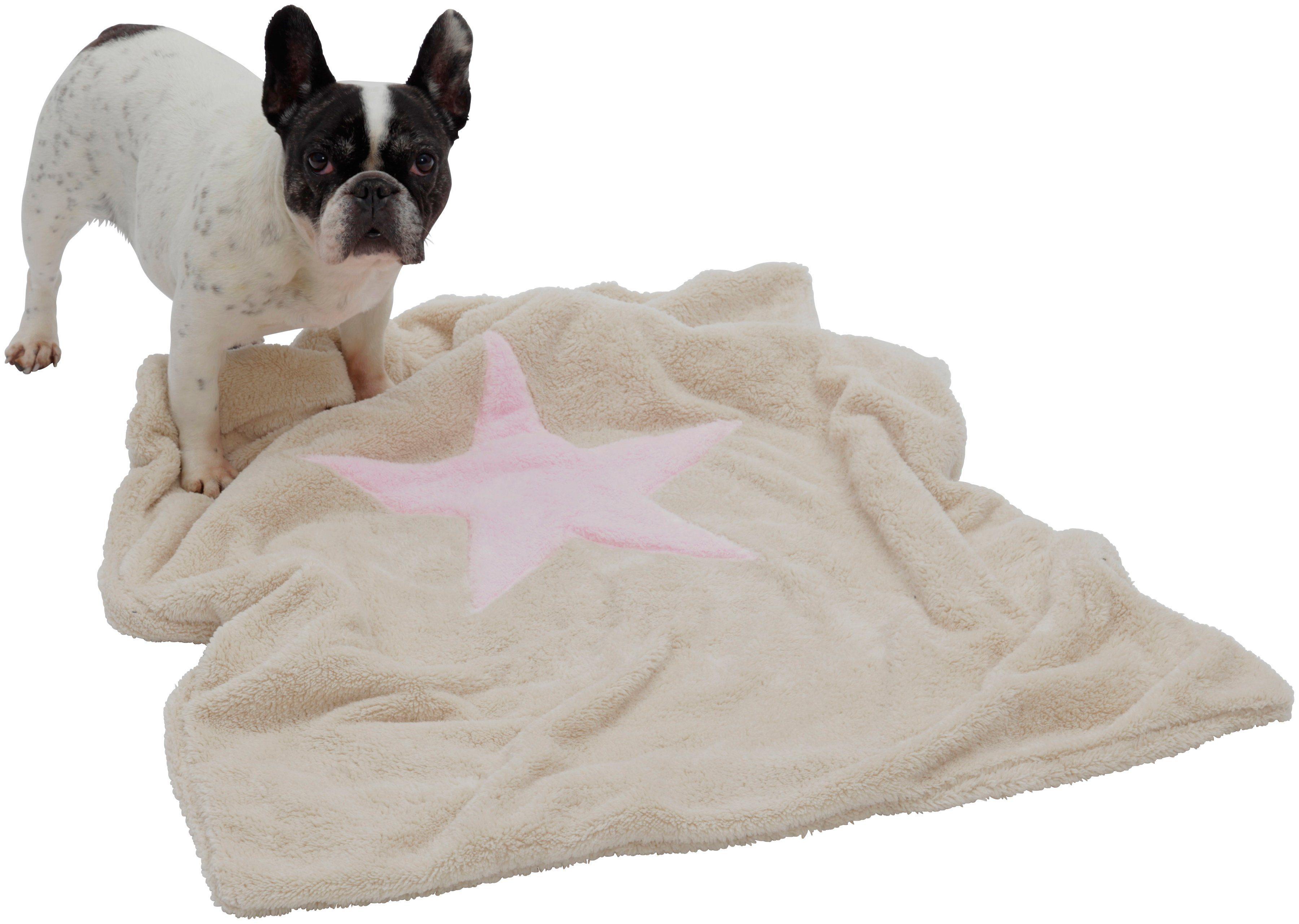 Hundedecke und Katzendecke »Pooch«, LxB: 85x110 cm, Creme-rosa