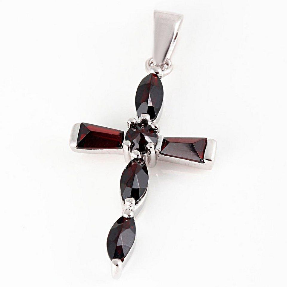 Averdin Kreuz Collier mit 6 kleinen Granat Steinen rechteckig / oval in silberfarben