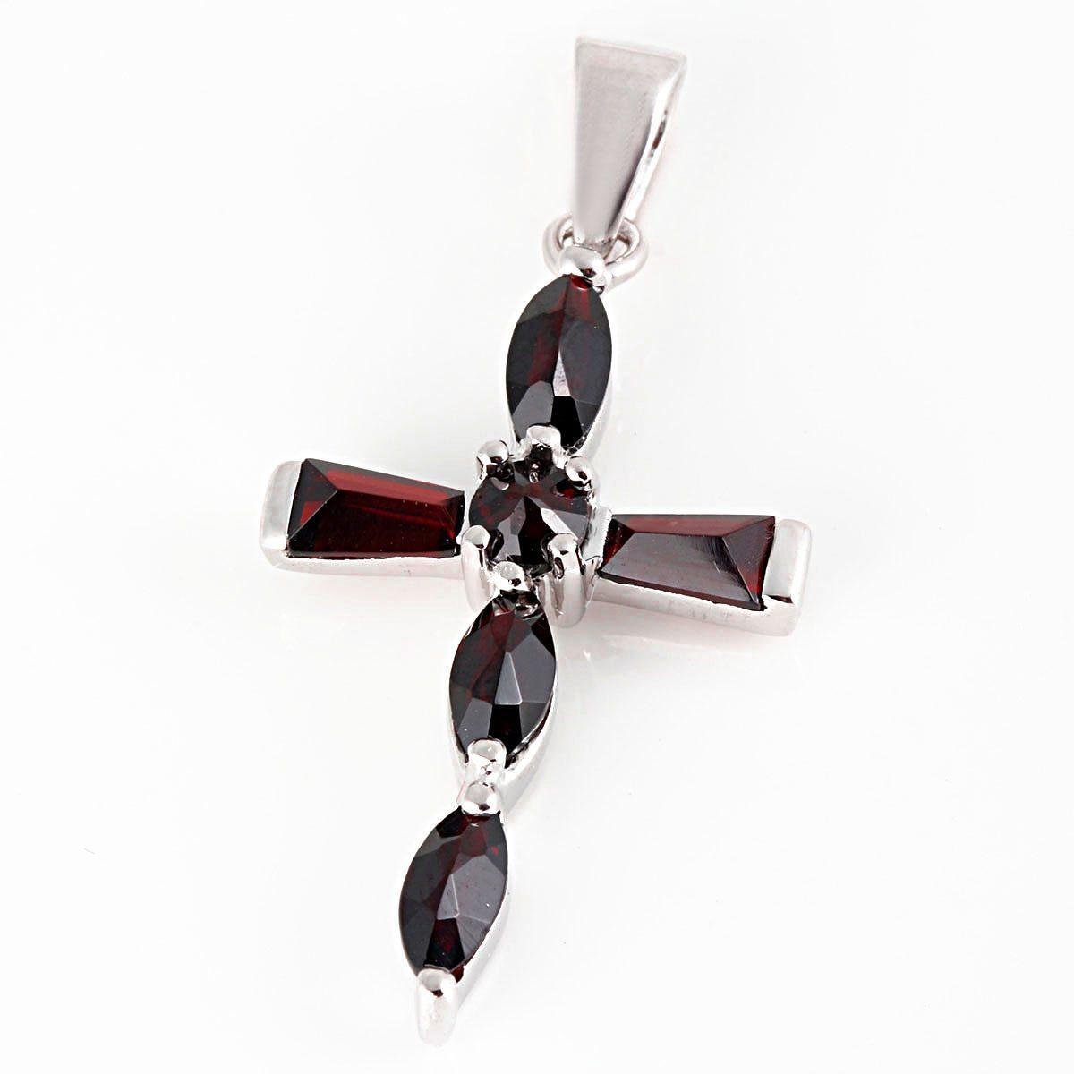 Averdin Kreuz Collier mit 6 kleinen Granat Steinen rechteckig / oval