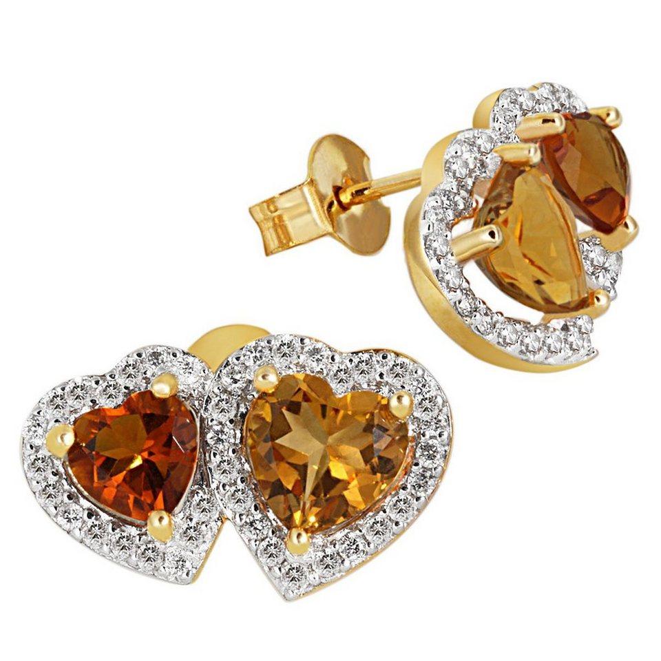 goldmaid Paar Ohrstecker Gelbgold 585 zwei Herzen mit Citrin 76 Brill. S in goldfarben