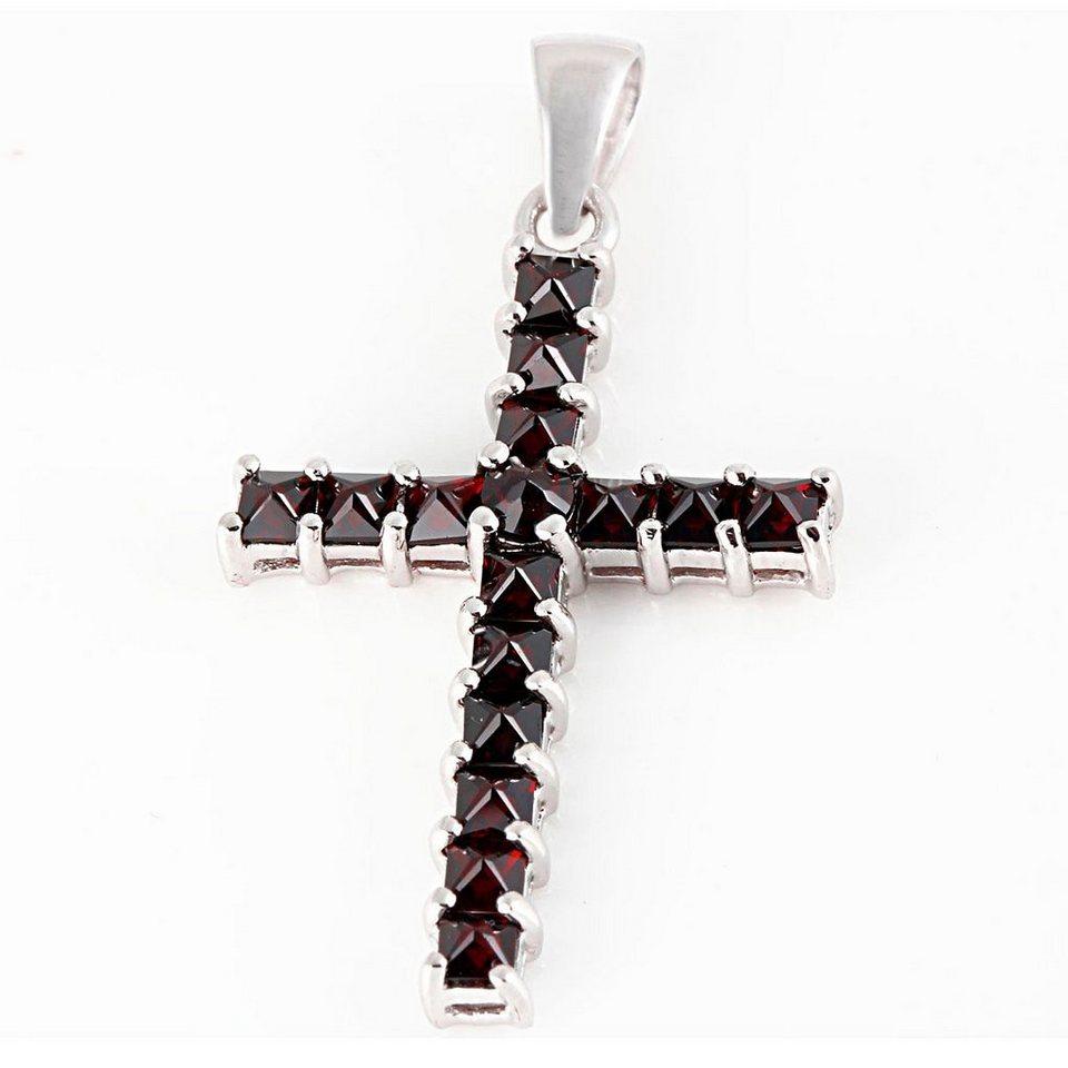 Averdin Kreuz Collier mit 16 Granat Steine in silberfarben