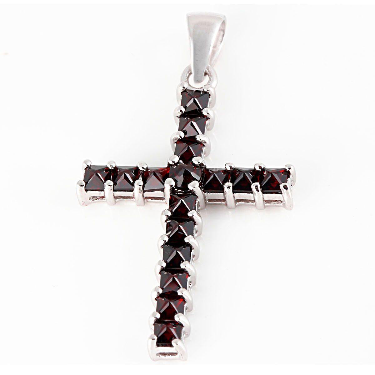 Averdin Kreuz Collier mit 16 Granat Steine
