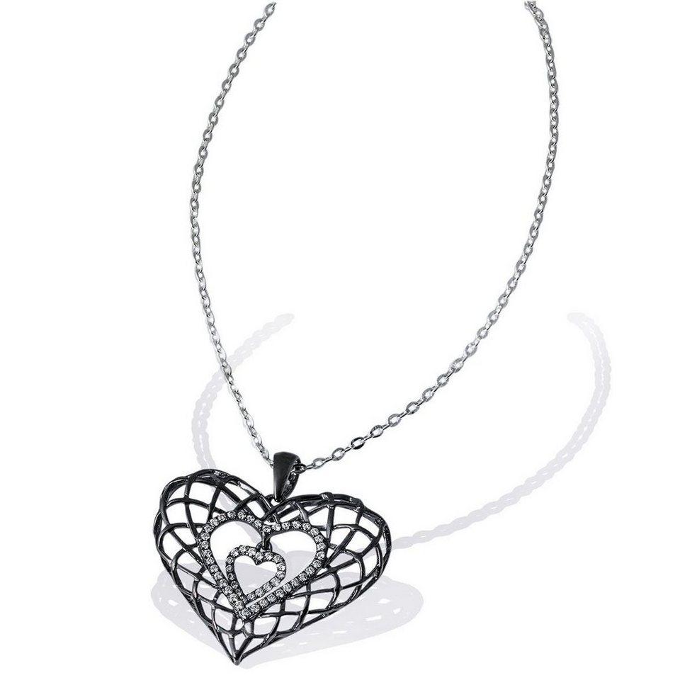 goldmaid Collier Black Heart 925 Sterlingsilber 54 weiße Zirkonia in schwarz