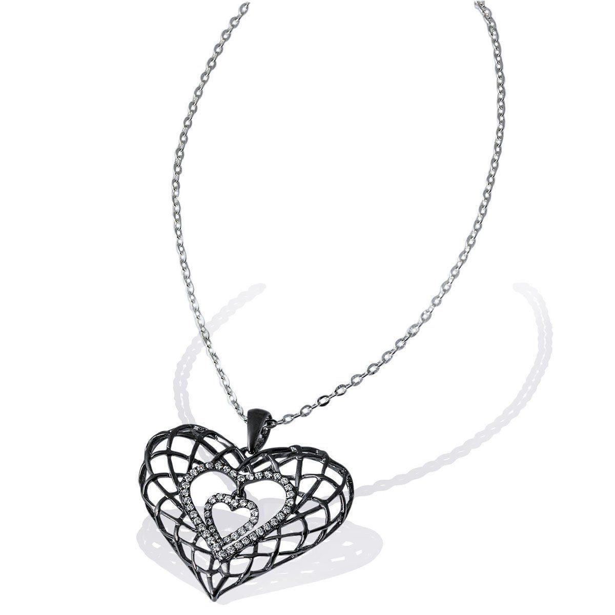 goldmaid Collier Black Heart 925 Sterlingsilber 54 weiße Zirkonia
