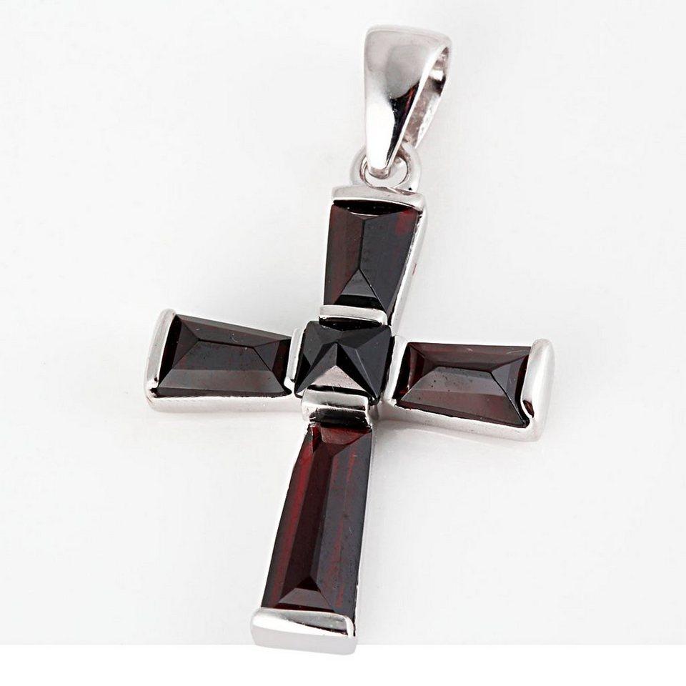 Averdin Kreuz Collier mit 5 Granat Steinen in silberfarben
