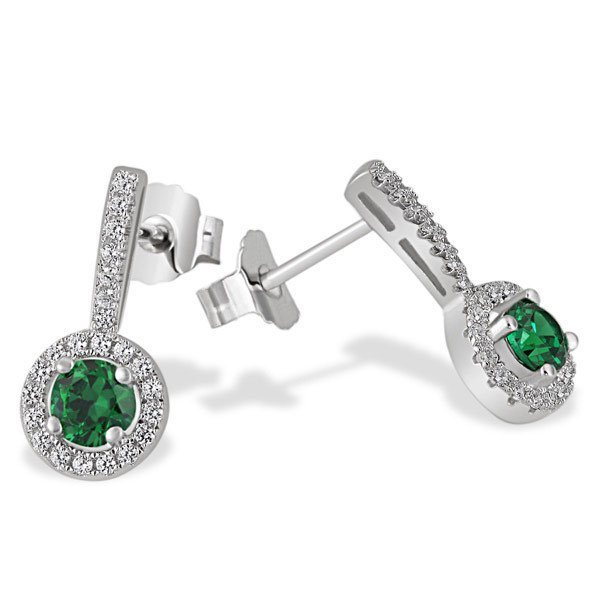 goldmaid Paar Ohrstecker Glasstein smaragdgrün 925 Sterlingsilber 48 klar in silberfarben