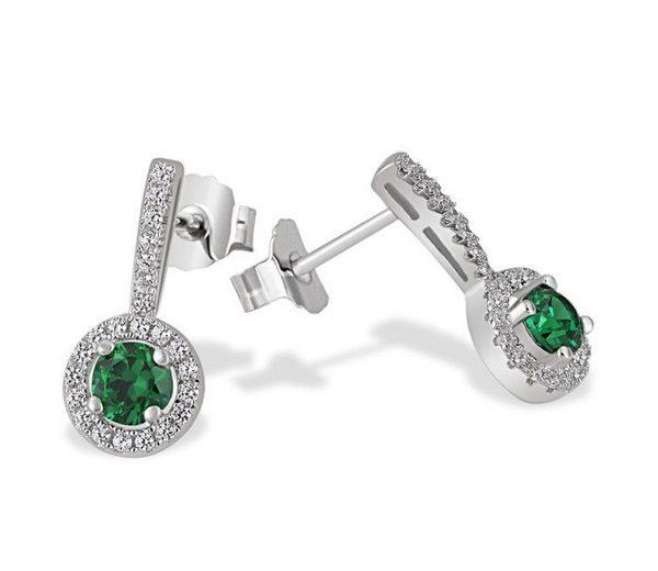 goldmaid Paar Ohrstecker Glasstein smaragdgrün 925 Sterlingsilber 48 klar