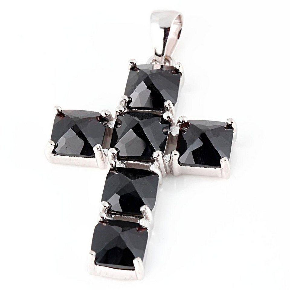 Averdin Kreuz Collier mit 6 großen rechteckigen Granat Steinen in silberfarben