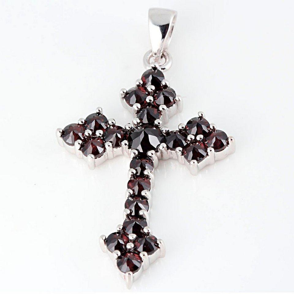 Averdin Kreuz Collier mit 20 Granat Steinen in silberfarben