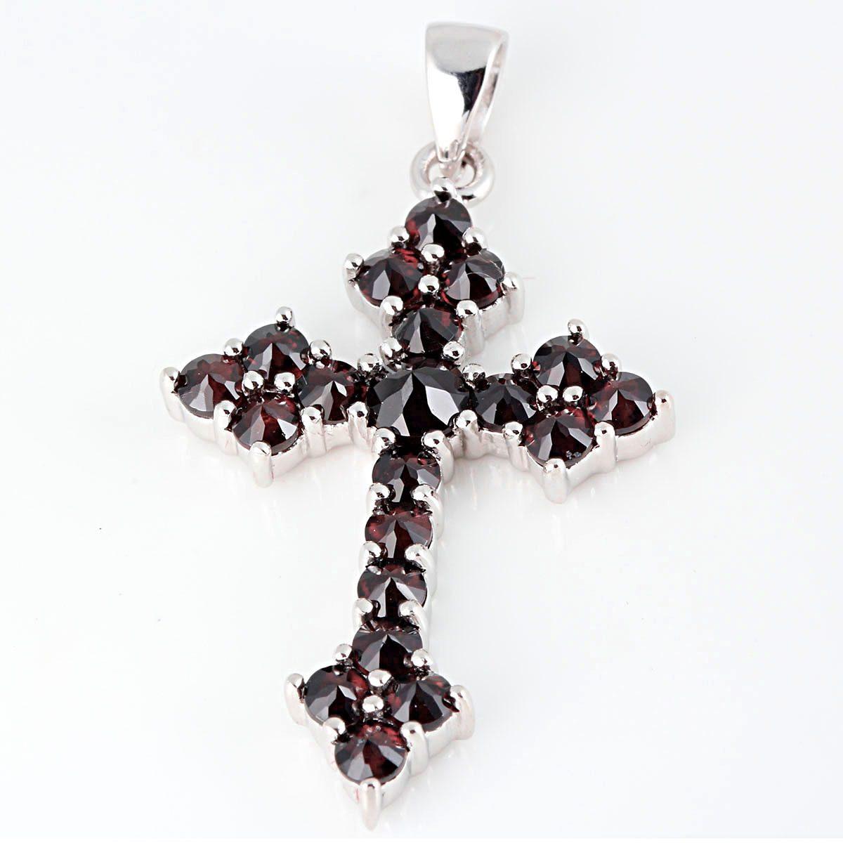 Averdin Kreuz Collier mit 20 Granat Steinen
