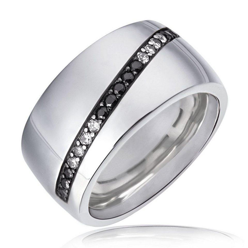 Averdin Damenring 925/- Sterlingsilber 11 schwarze und 8 weiße Zirkonia in weiß