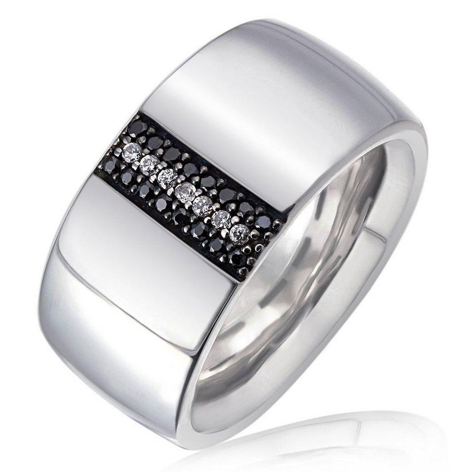 Averdin Damenring 925/- Sterlingsilber 7 weiße 16 schwarze Zirkonia in silberfarben