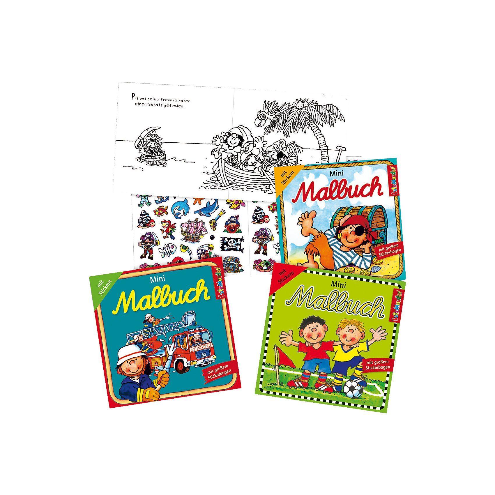 Lutz Mauder Verlag Mini-Malbücher mit Stickern, Jungen, 3 Stück