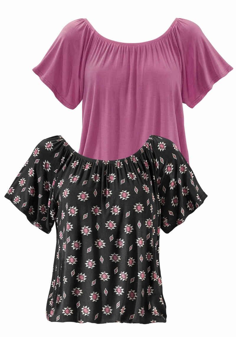 Buffalo Carmenshirt (2er-Pack) mit elastischem Ausschnitt für zwei Tragevarianten