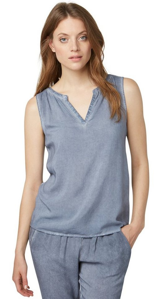 TOM TAILOR Bluse »Blusen-Top mit Waschung« in steal blue