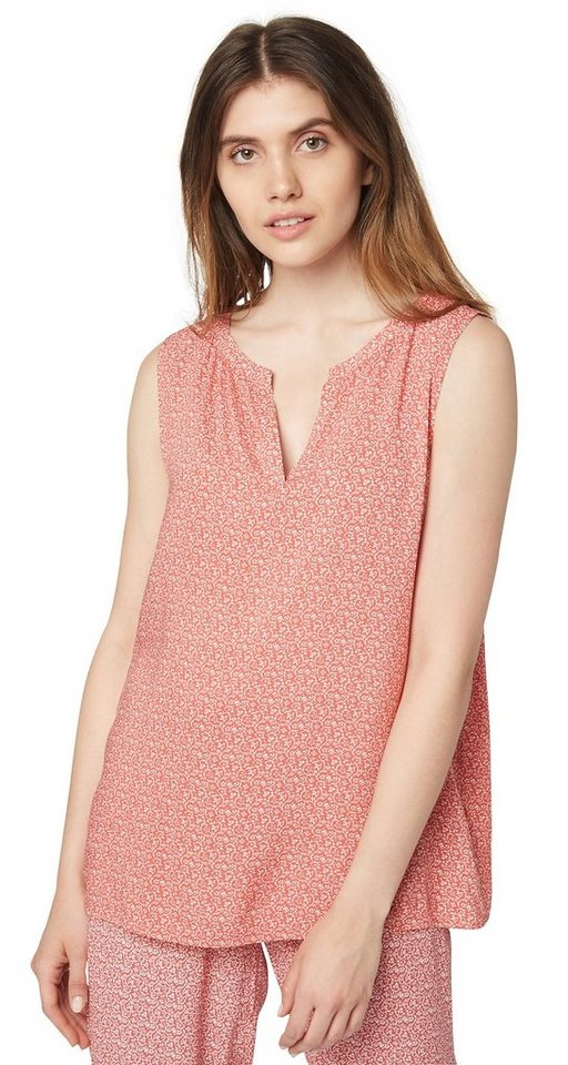 TOM TAILOR Bluse »sommerliches Blusen-Top mit Muster« in terracotta red