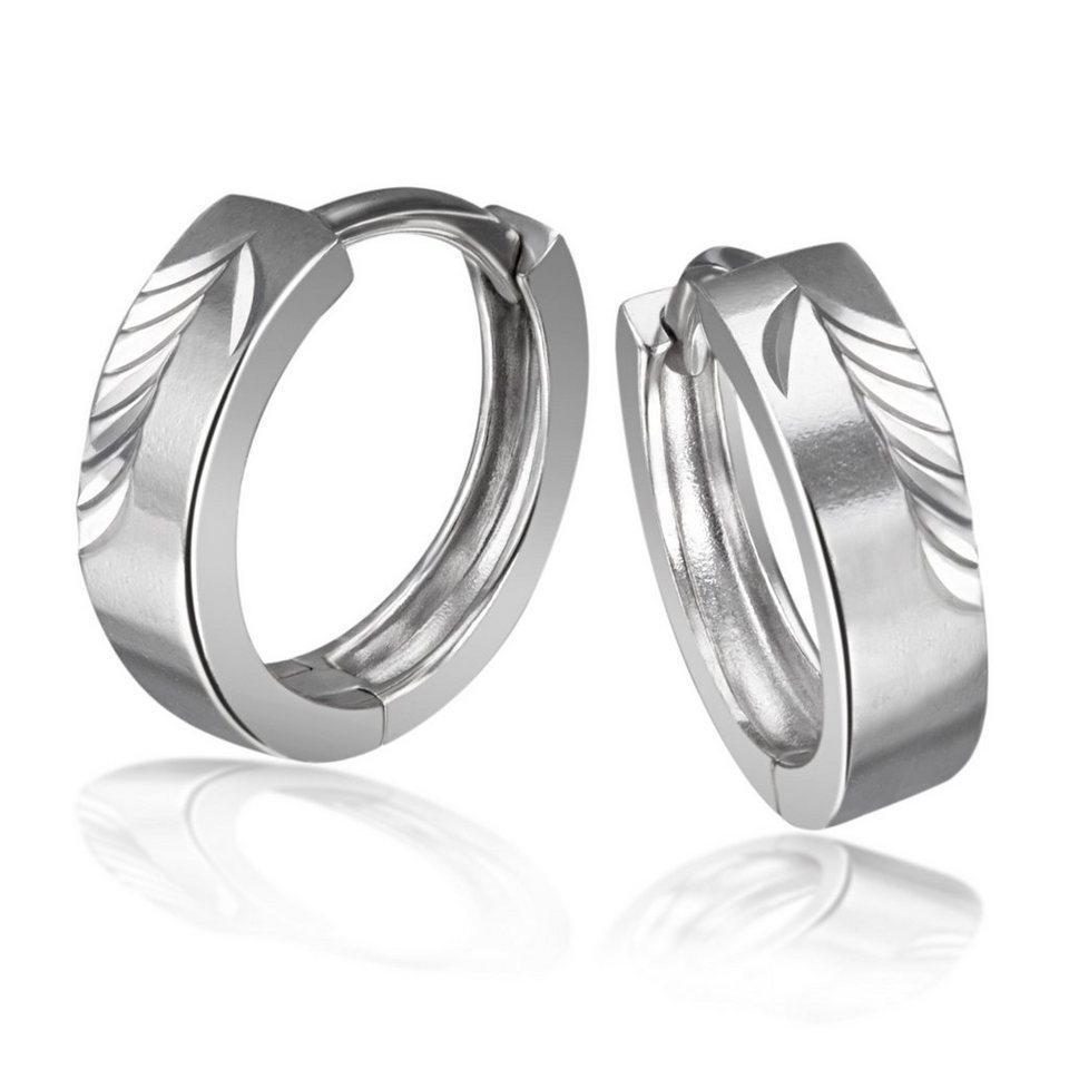Averdin Paar Creolen 925/- Sterlingsilber diamantiert in silberfarben
