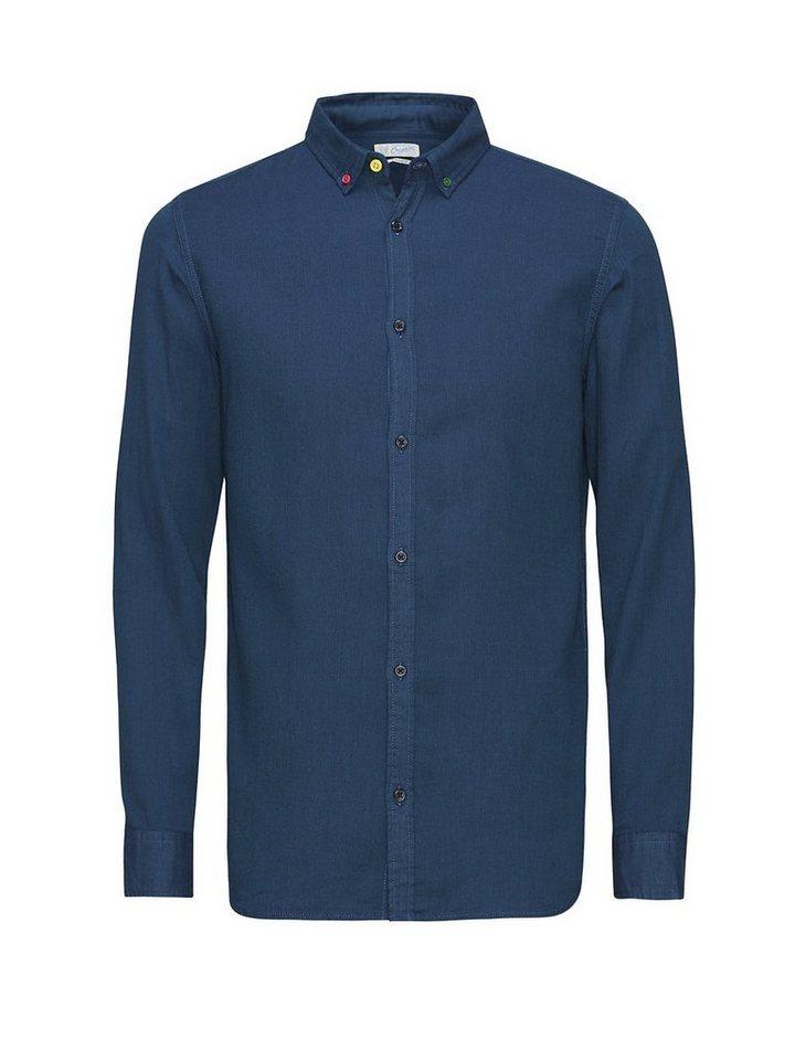 Jack & Jones Knackiges Button-Down- Langarmhemd in Navy Blazer