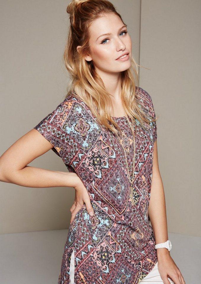 COMMA Feminines Kurzarmshirt mit aufregendem Alloverprint in hibiscus AOP scarf p