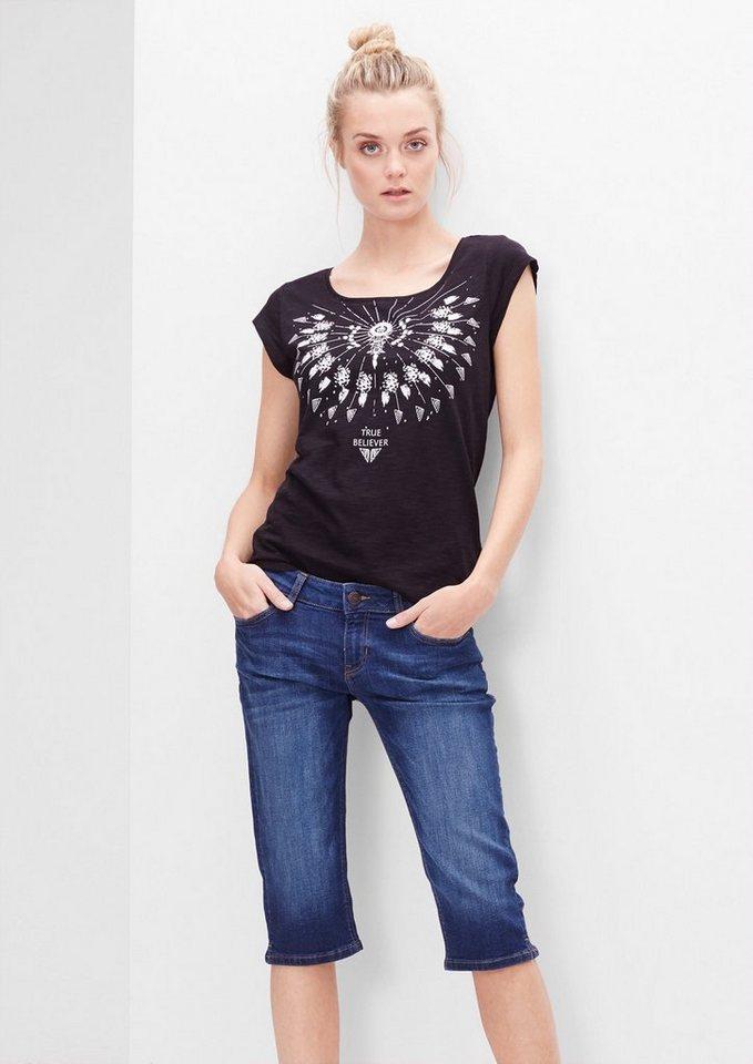 s.Oliver Denim Slim: Used-Jeans in Capri-Länge in dark blue denim