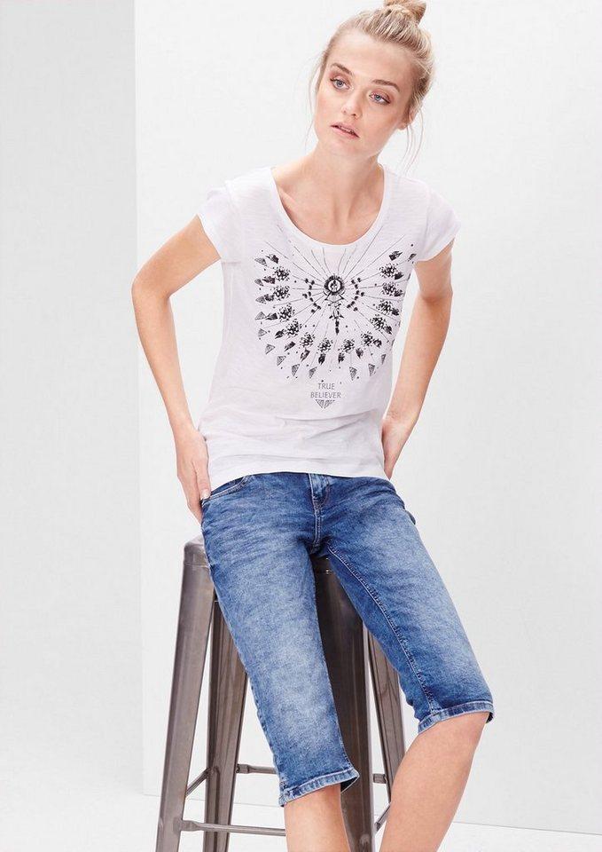 s.Oliver Denim Slim: Used-Jeans in Capri-Länge in blue denim stretch
