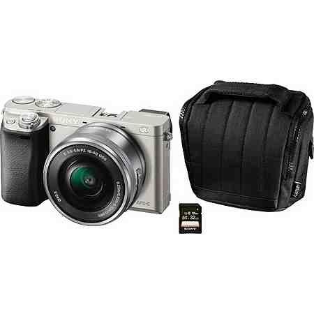 Sony Alpha ILCE-6000L System Kamera, 16-50mm Zoom, inkl. Tasche, 32 GB SD-Karte, 10€ Fotogutschein