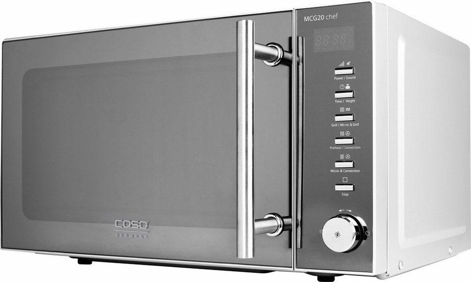 CASO Design Mikrowelle CASO MCG20 chef Design, mit Grill und Heißluft, 20 Liter Garraum, 800 Watt in Edelstahl