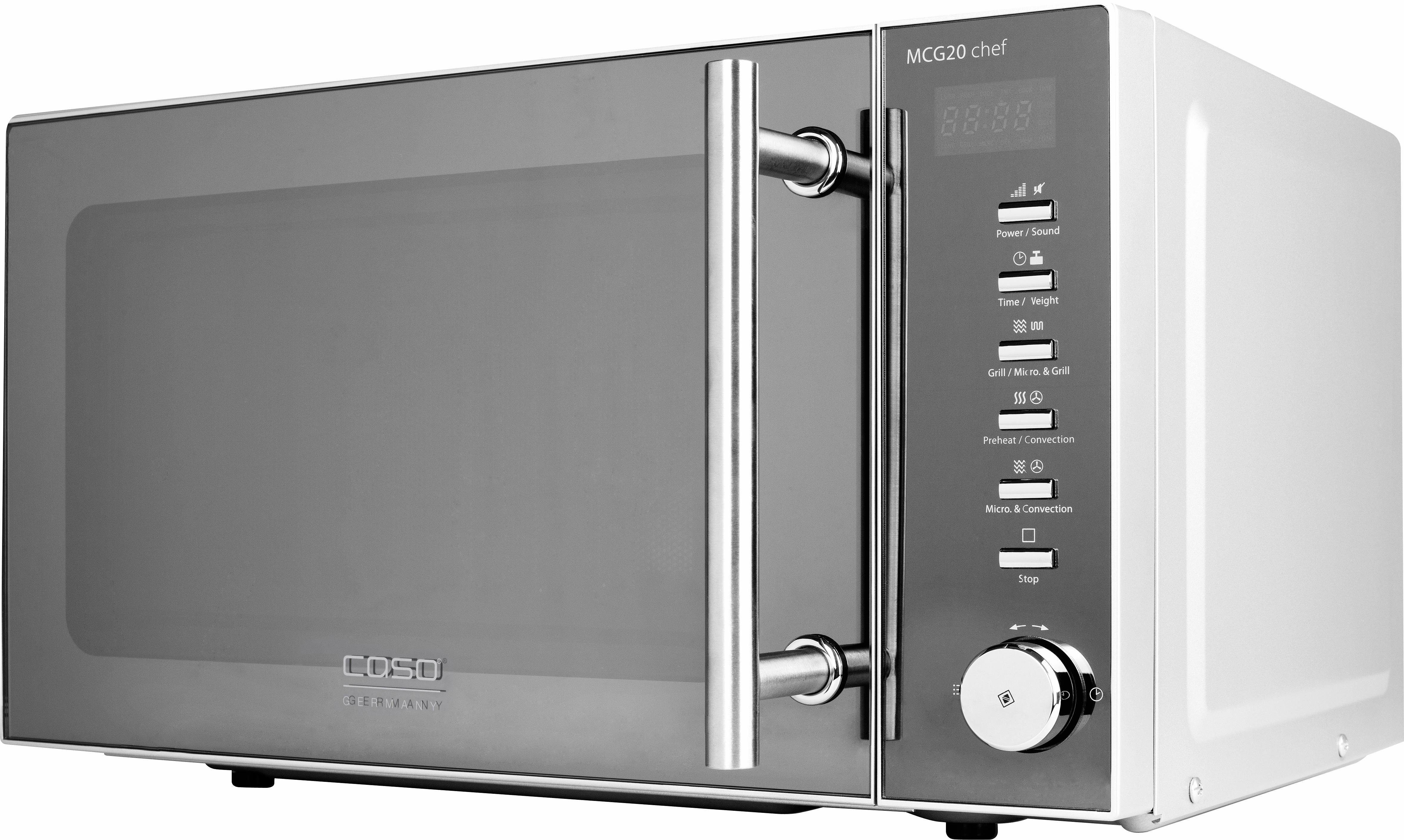 CASO Design Mikrowelle CASO MCG20 chef Design, mit Grill und Heißluft, 20 Liter Garraum, 800 Watt