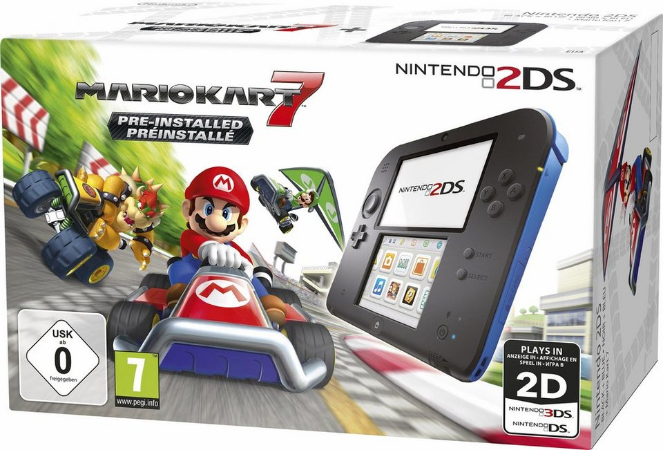 Nintendo 2DS + Mario Kart 7 Konsolen-Set mit 3 Jahren Garantie* in schwarz/blau