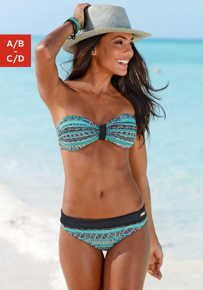 Bandeau-Bikini, Buffalo in schwarz-mint