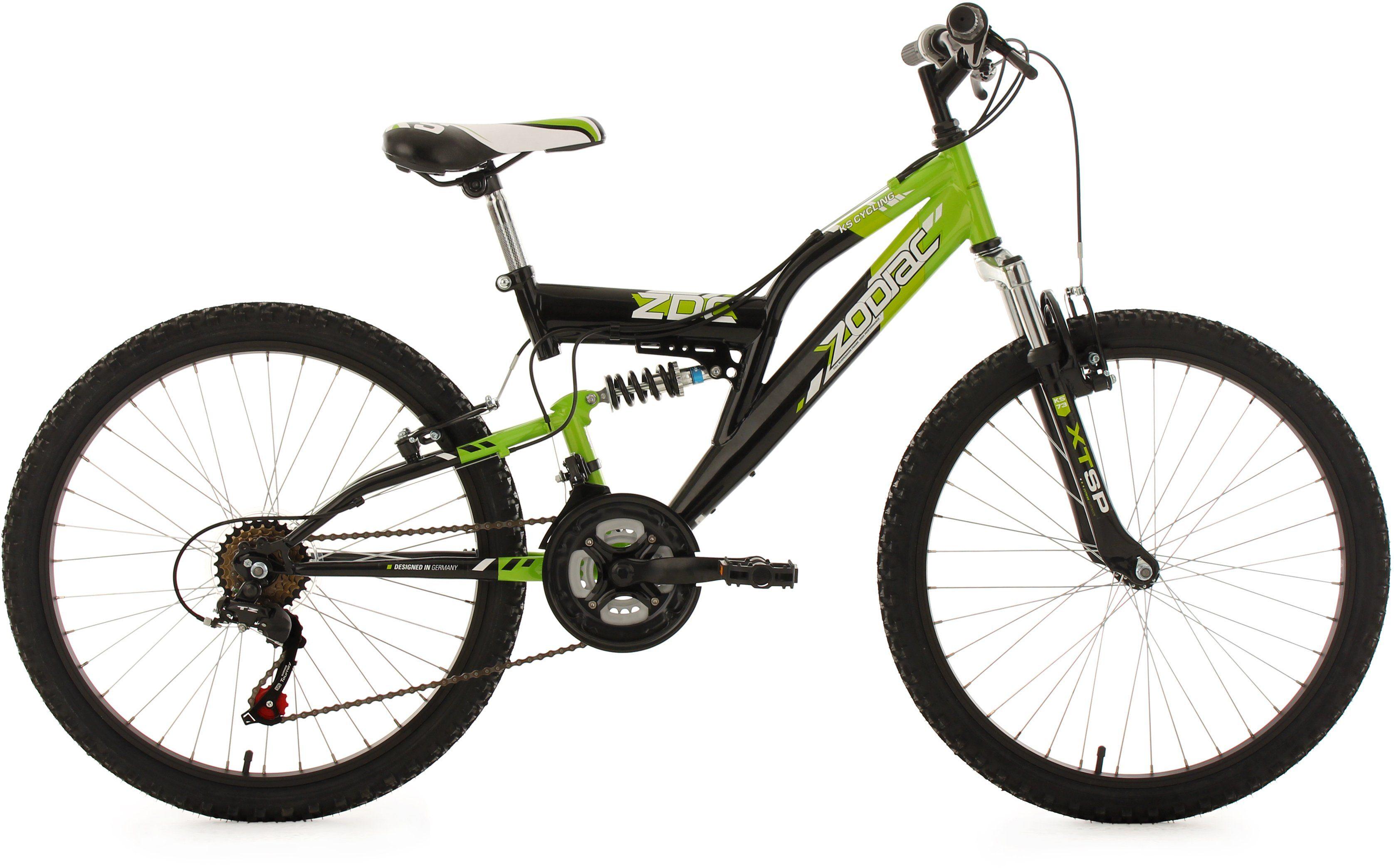 KS Cycling Fully Jugendmountainbike, 24 Zoll, schw.-grün, Shimano 18 G.-Kettenschaltung, »Zodiac«