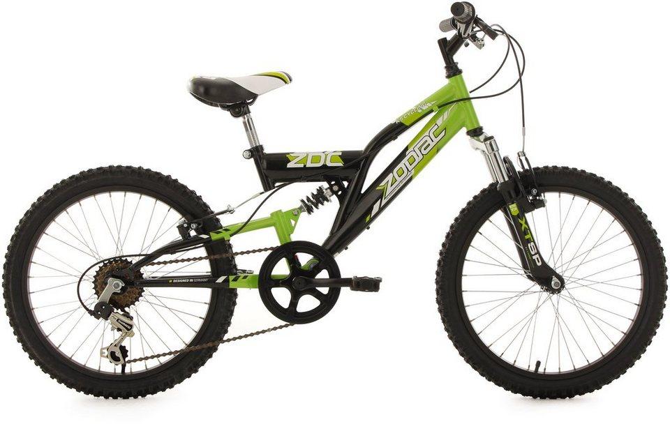 KS Cycling Fully Jugend-Mountainbike, 20 Zoll, schw.-grün, Shimano 6 G.-Kettenschaltung, »Zodiac« in schwarz-grün