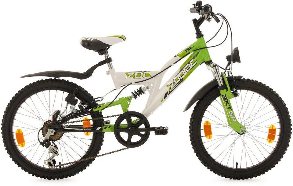 KS Cycling Fully Jugend-Mountainbike, 20 Zoll, weiß-grün, Shimano 6 G.-Kettenschaltung, »Zodiac« in weiß-grün