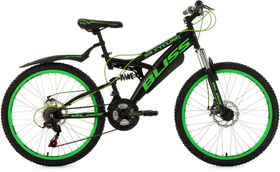 KS Cycling Fully Jugend-Mountainbike, 24 Zoll, schw.-grün, Shimano 18 G.-Kettenschaltung, »Bliss« in schwarz-grün