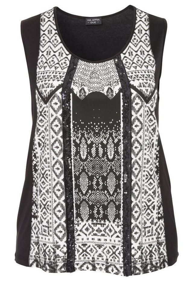VIA APPIA DUE Sommer-Top »Black & White Ethno Vibes« in schwarz