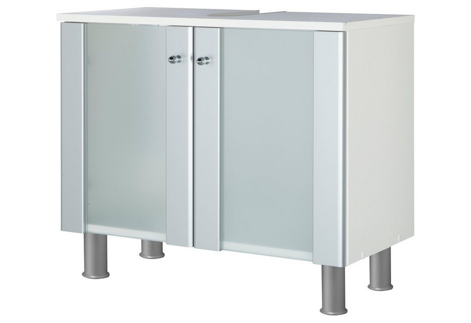Waschbeckenunterschrank »Ravenna« in silberfarben/weiß