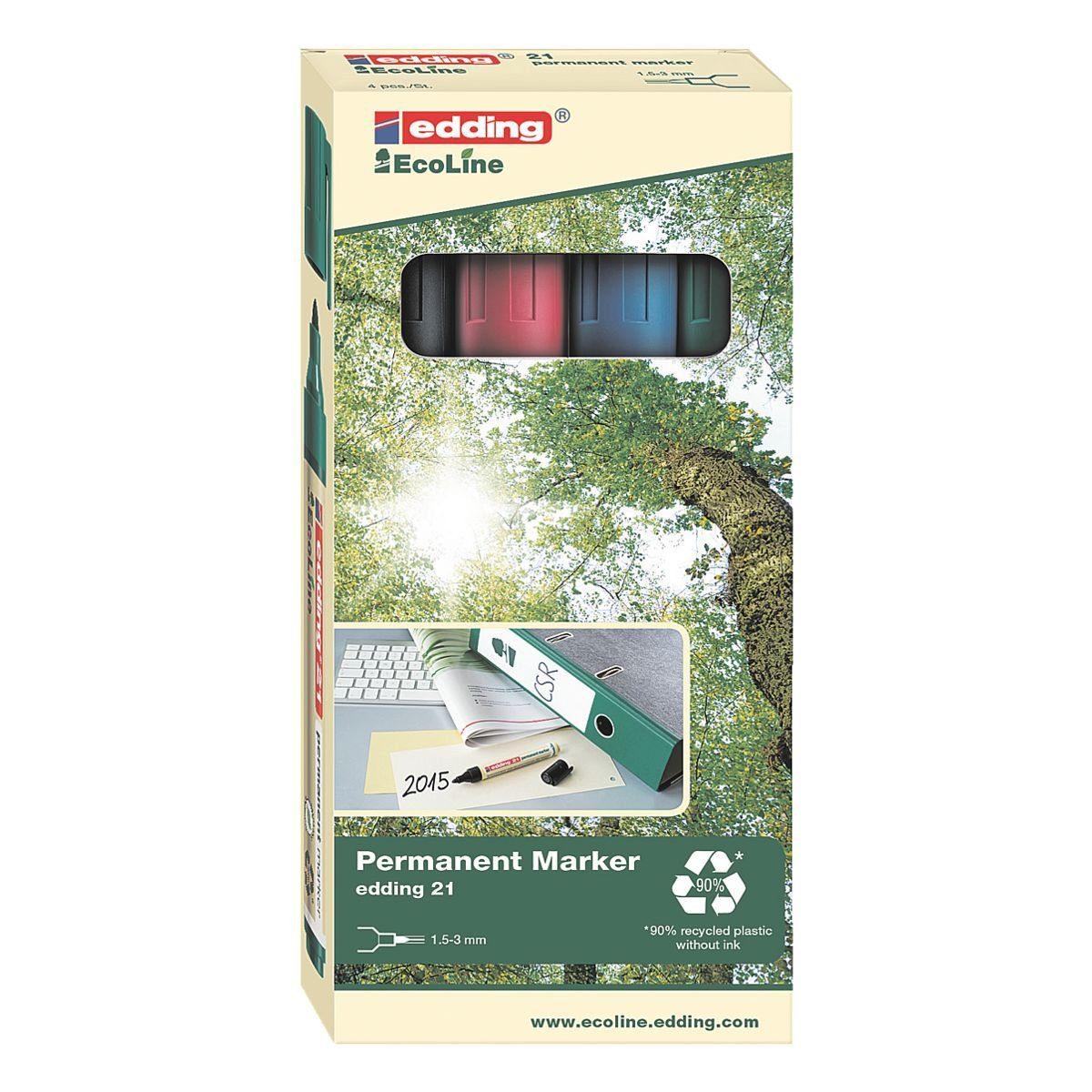 EDDING 4er-Pack Permanent-Marker »21 EcoLine«