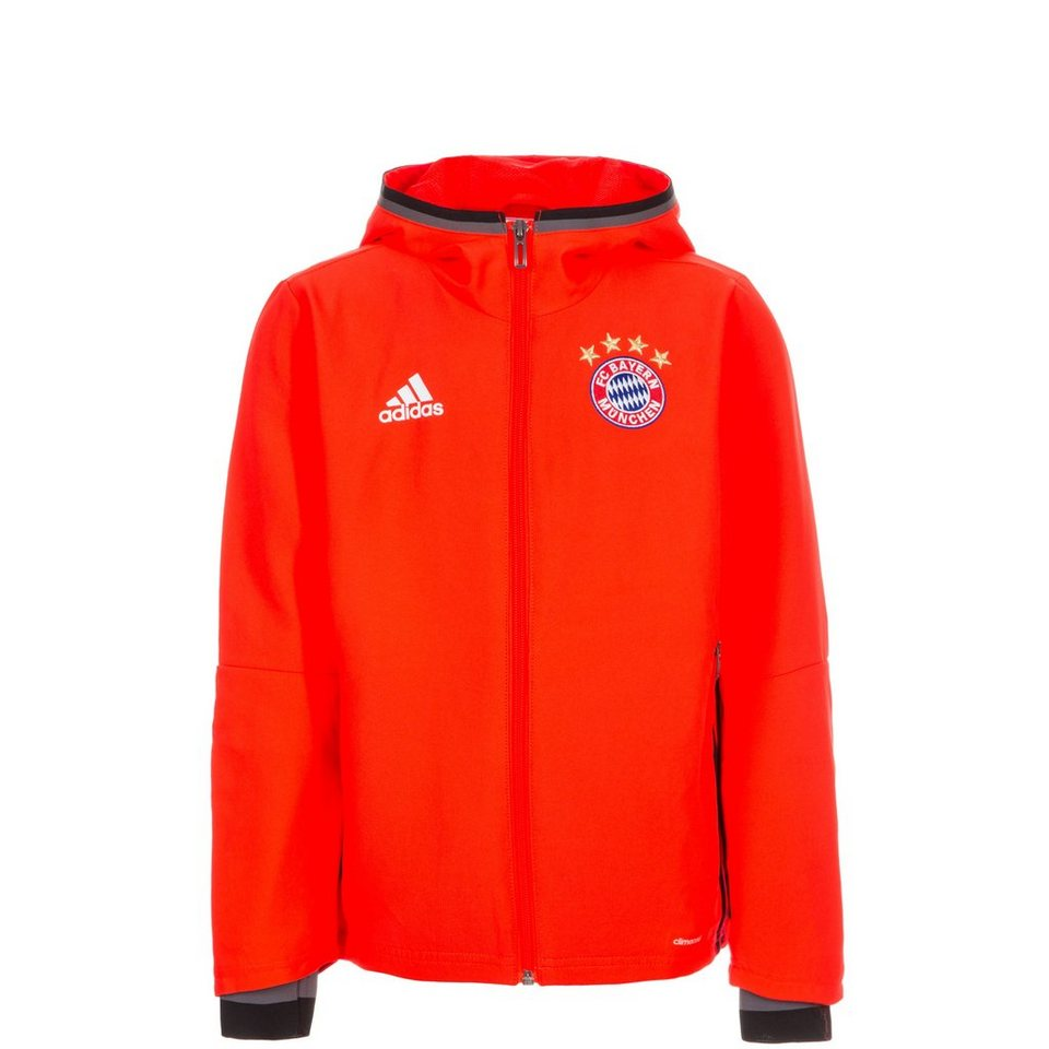 adidas Performance FC Bayern München Präsentationsjacke Kinder in neonrot / schwarz