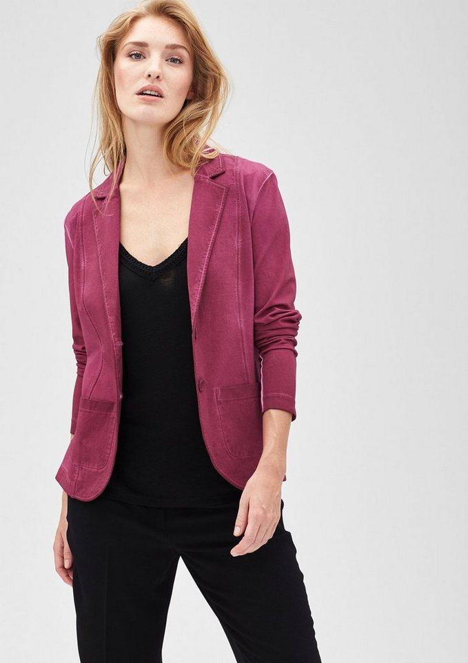 s.Oliver PREMIUM Garment Dye-Blazer aus Jersey in very berry